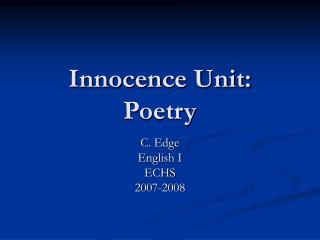 Innocence Unit: Poetry