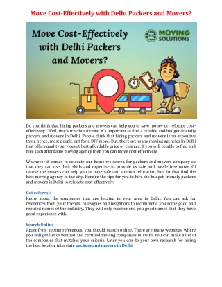 Move Cost-Effectively with Delhi Packers and Movers?