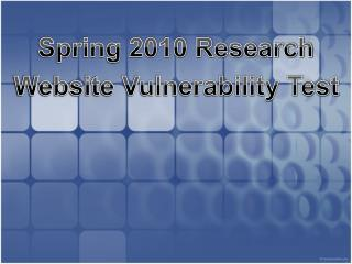 Spring 2010 Research