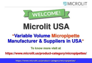 Variable Volume Micropipette in USA