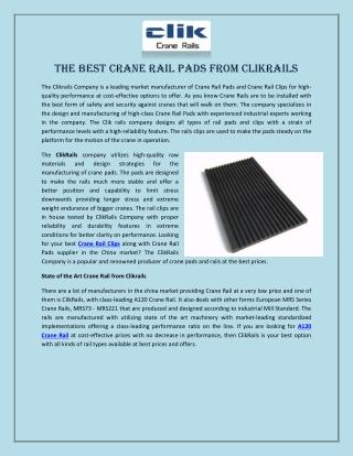 The Best Crane Rail Pads from Clikrails