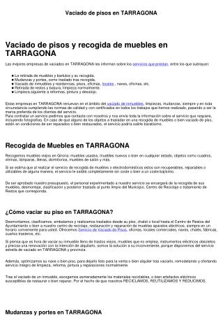 Vaciado de pisos en TARRAGONA
