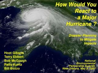 How Would You React to  a Major  Hurricane     Disaster Planning  to Mitigate  Impacts