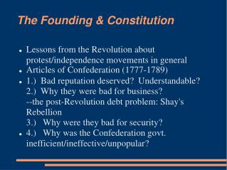 The Founding & Constitution