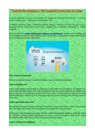 Website Development: The Simplest Future and Its Scope