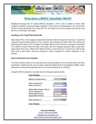 How does a WACC Calculator work?