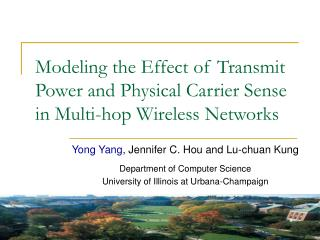 Modeling the Effect of Transmit Power and Physical Carrier Sense in Multi-hop Wireless Networks