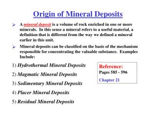Origin of Mineral Deposits