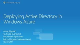 Deploying Active Directory in Windows Azure
