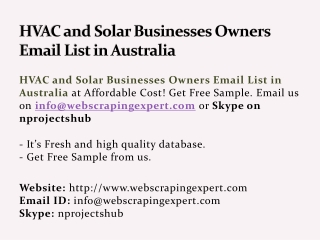 HVAC and Solar Businesses Owners Email List in Australia
