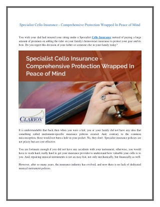 Specialist Cello Insurance - Comprehensive Protection Wrapped In Peace of Mind