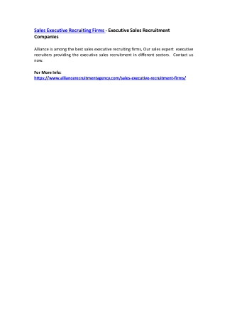 Sales Executive Recruiting Firms - Executive Sales Recruitment Companies