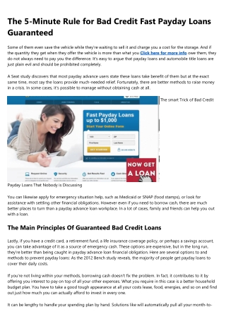 Bad Credit Payday Loans Fundamentals Explained