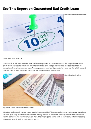 Some Of Bad Credit Payday Loans