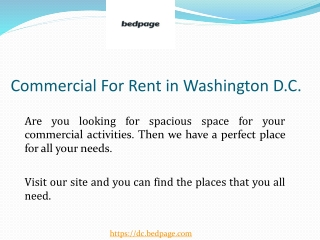 Commercial For Rent in Washington D.C.