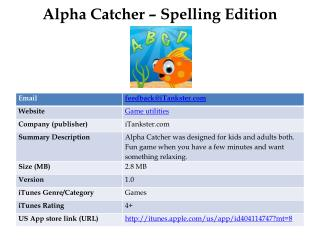 Alpha Catcher ??? Spelling Edition