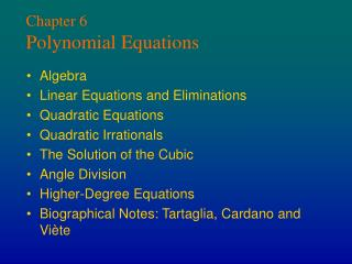 Chapter 6 Polynomial Equations
