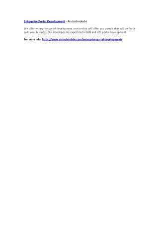 Enterprise Portal Development - Ais technolabs