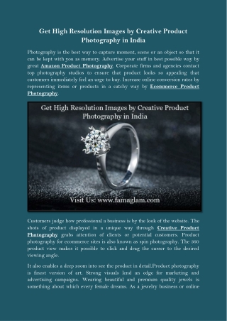 Get High Resolution Images by Creative Product Photography in India
