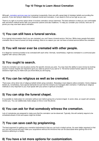 Top 10 Points to Understand About Cremation