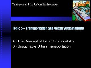 Topic 5   Transportation and Urban Sustainability