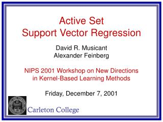 Active Set Support Vector Regression