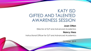 Katy ISD Gifted and Talented Awareness Session
