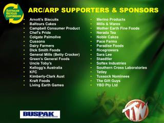 ARC/ARP SUPPORTERS & SPONSORS