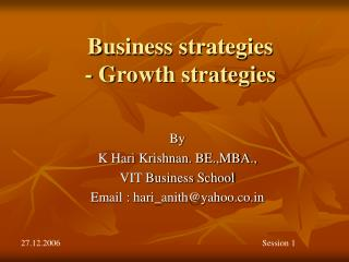 Business strategies - Growth strategies