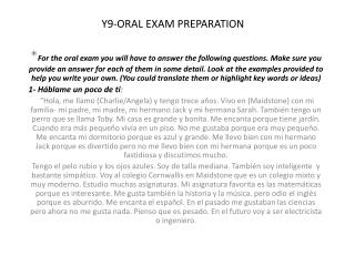 Y9-ORAL EXAM PREPARATION