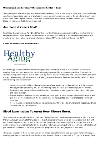 Listing of Blood Disorders