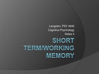 Short Term/Working Memory