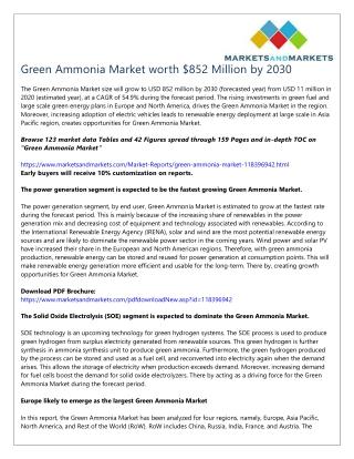 Green Ammonia Market worth $852 Million by 2030
