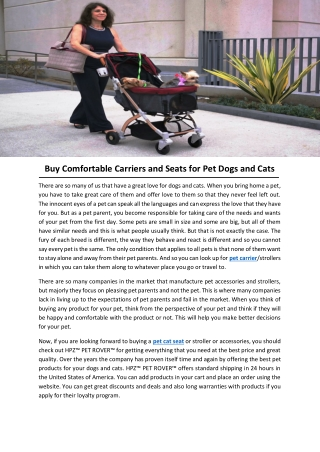 Buy Comfortable Carriers and Seats for Pet Dogs and Cats