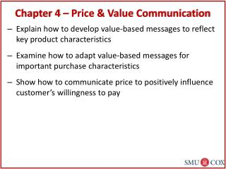 Chapter 4 – Price & Value Communication