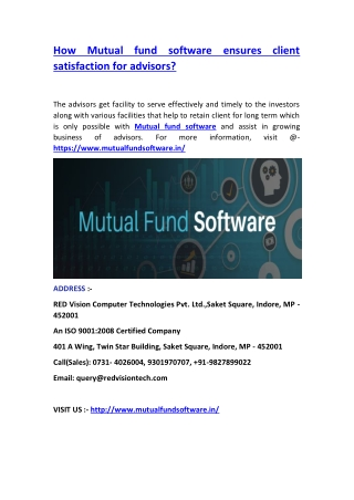 How Mutual fund software ensures client satisfaction for advisors?