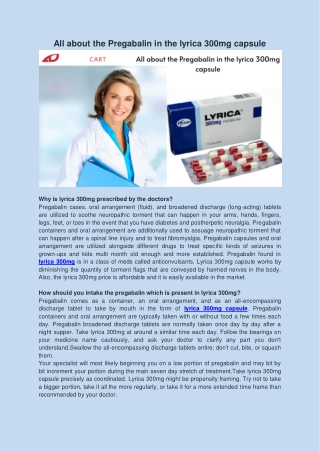 All about the Pregabalin in the lyrica 300mg capsule