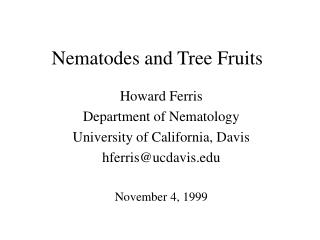 Nematodes and Tree Fruits
