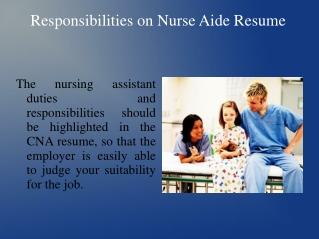 Responsibilities on Nurse Aide Resume