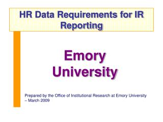 HR Data Requirements for IR Reporting