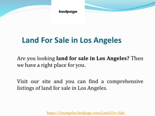 Land For Sale in Los Angeles
