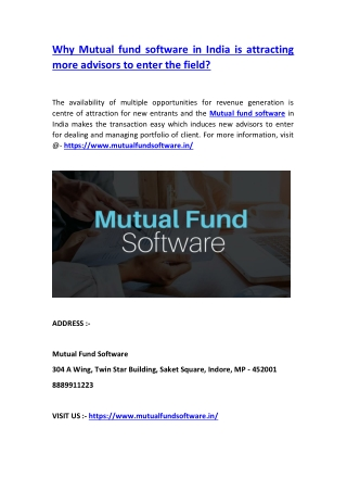 Why Mutual fund software in India is attracting more advisors to enter the field?