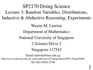 SP2170 Doing Science Lecture 3: Random Variables, Distributions,  Inductive & Abductive Reasoning, Experiments