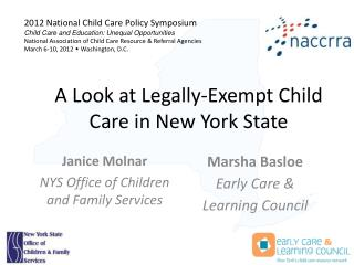 A Look at Legally-Exempt Child Care in New York State