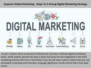 Superior Global Marketing - Steps To A Strong Digital Marketing Strategy