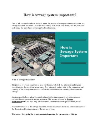 How is sewage system important?