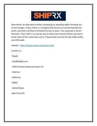 Small Parcel Audit |  Shiprx
