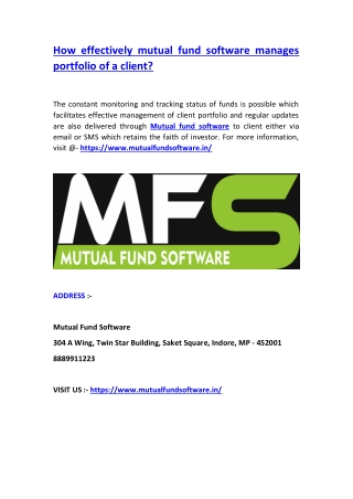 How effectively mutual fund software manages portfolio of a client?