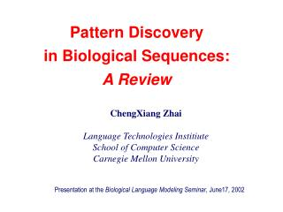 Pattern Discovery in Biological Sequences:  A Review