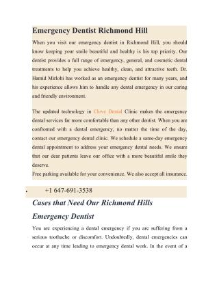 Emergency Dentist Richmond Hill